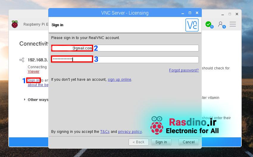 لاگین شدن در VNC سرور