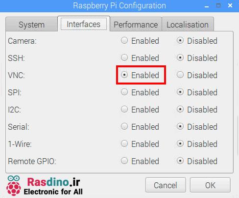 فعال کردن VNC در قسمت Configuration