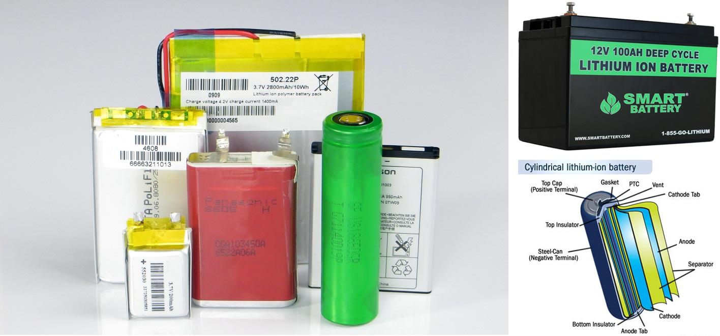 انواع و ساختار باتری لیتیوم یون