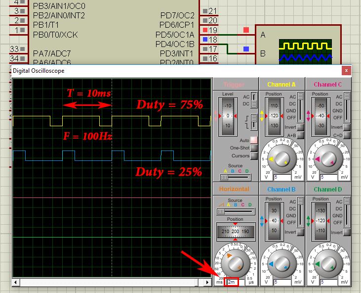 مثال مد Fast PWM در تایمر کانتر 1