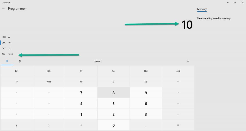 سیستم اعداد در ماشین حساب ویندوز 10