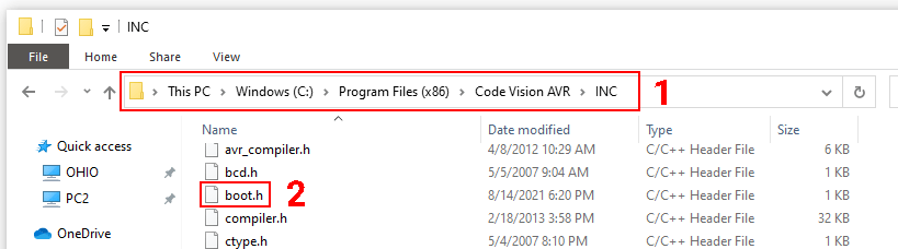 قرار دادن فایل boot.h در کدویژن