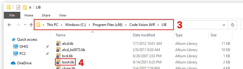 قرار دادن فایل boot.lib در کدویژن